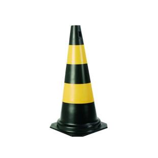 Cone 75CM Pvc Preto/Amarelo Plastcor