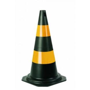 Cone 50CM Pvc Preto/Amarelo Plastcor