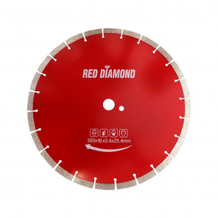 Serra Diamantada 350 x 25,4Mm Asfalto e Concreto Red Diamond